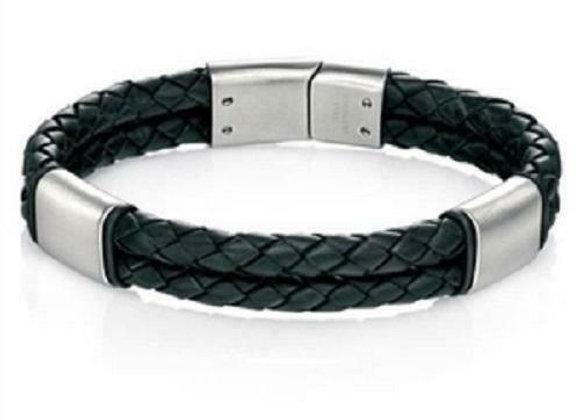 Fred Bennett Double Strand Black Leather Bracelet
