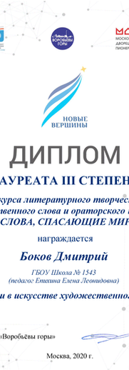 Новые вершины, Боков Дмитрий, лауреат 3