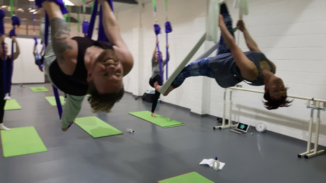 Aerial Yoga with Paddy and Sam