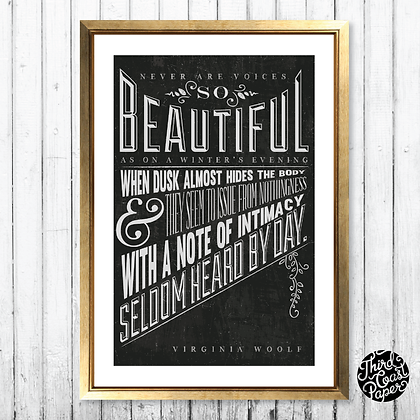 "Virginia Woolf ""Winter's Evening"" Chalkboard Print"