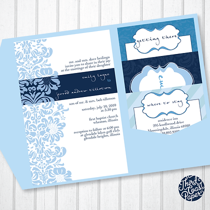Shades of Blue Wedding Invitation