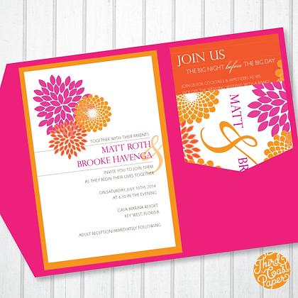Tropical Hydrangea Wedding Invitation