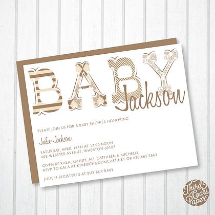 Khacki & Tan Typographic Baby Shower Invitation