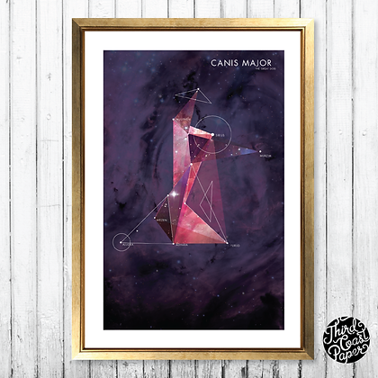 Canis Major Constellation Map Print
