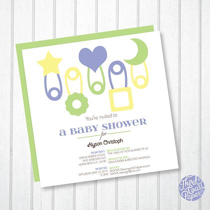 Diaper Pin Baby Shower Invitation