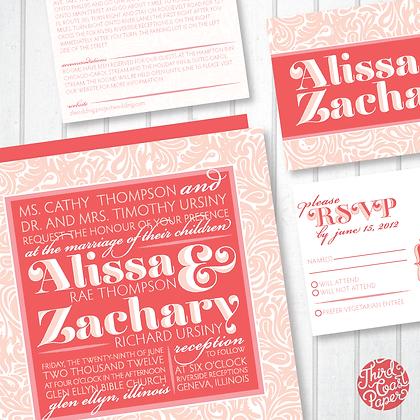Typographic Paisley Wedding Invitation