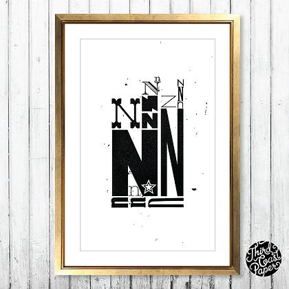Letter N Type Specimen Print