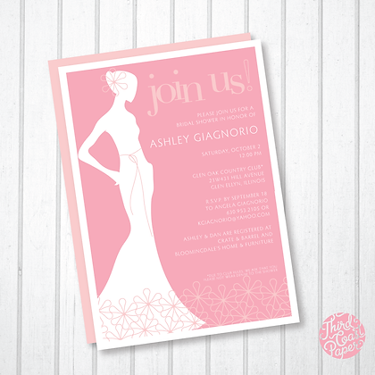 Modern Floral Bridal Silhouette Invitation