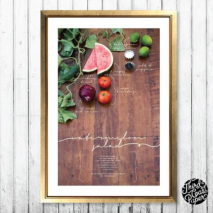 Watermelon Salad Recipe Art Print