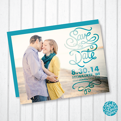Script Typography Photo Save the Date