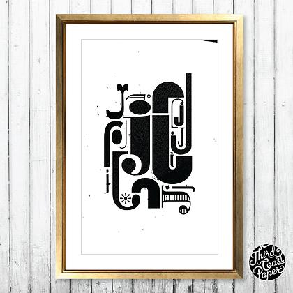 Letter J Type Specimen Print