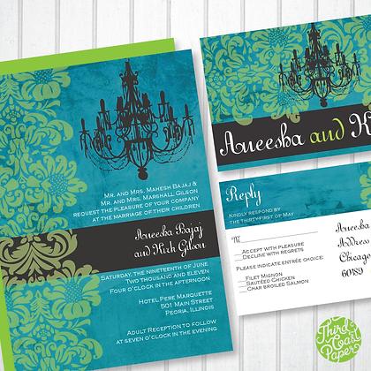 Gothic Chandelier Wedding Invitation