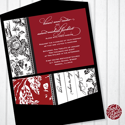 Damask Pocketfold Wedding Invitation