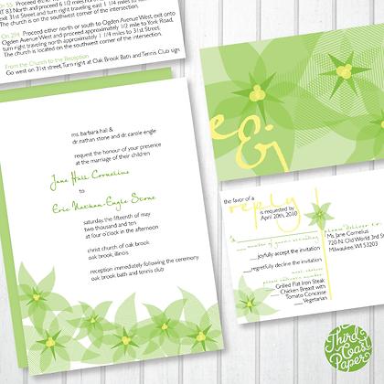 Stargazer Lily Modern Wedding Invitation