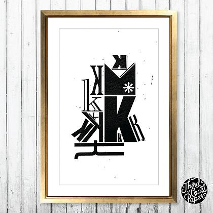 Letter K Type Specimen Print