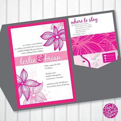Pink Floral Pocketfold Wedding Invitation