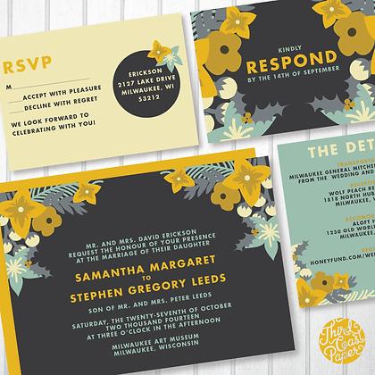 Mustard & Mint Floral Bud Wedding Invitation