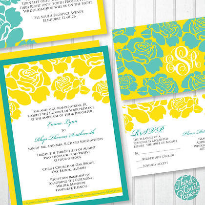 Graphic Rose Wedding Invitation