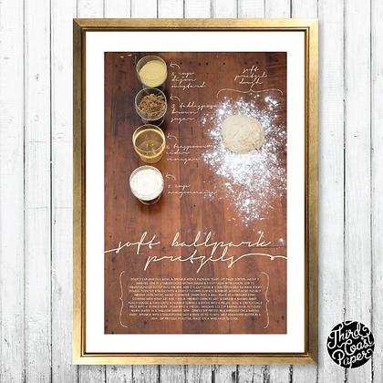 Soft Ballpark Pretzel Recipe Art Print