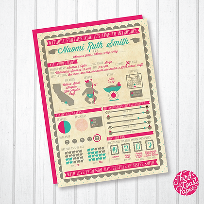 Baby Girl Infographic Birth Announcement