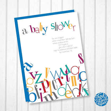 A to Z Typographic Baby Shower Invitation