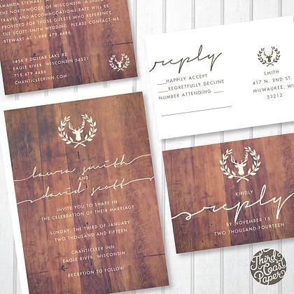 Antler Woodgrain Wedding Invitation