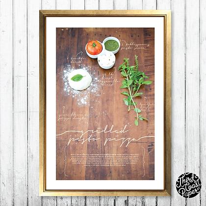 Grilled Pesto Pizza Recipe Art Print