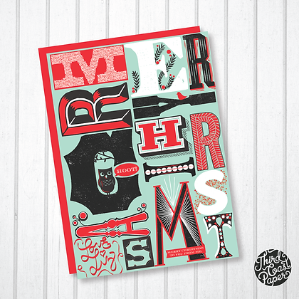 Woodblock Letter Print Typographic Christmas Card