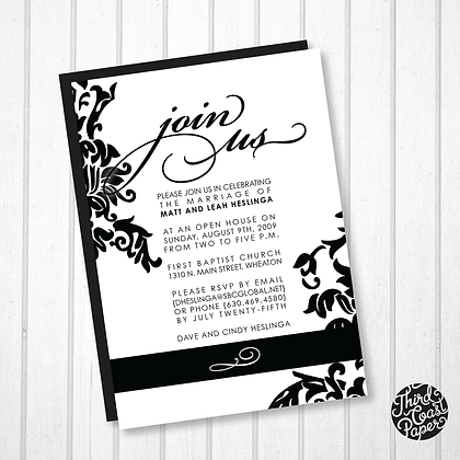 Black and White Traditional Invitation