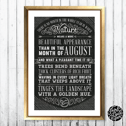 "Charles Dickens ""August"" Chalkboard Print"