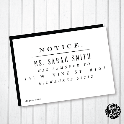 Old Fashioned Notice Moving Announcement