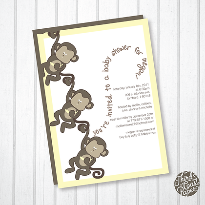 Chain O' Monkeys Baby Shower Invitation