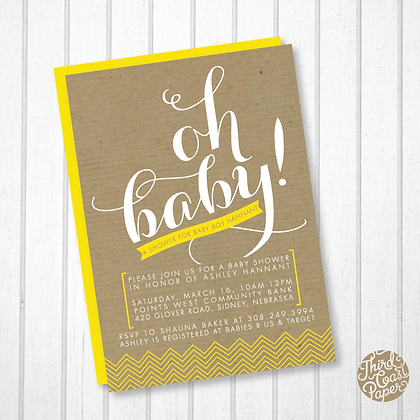 Oh Baby! Kraft & Chevron Baby Shower Invitation