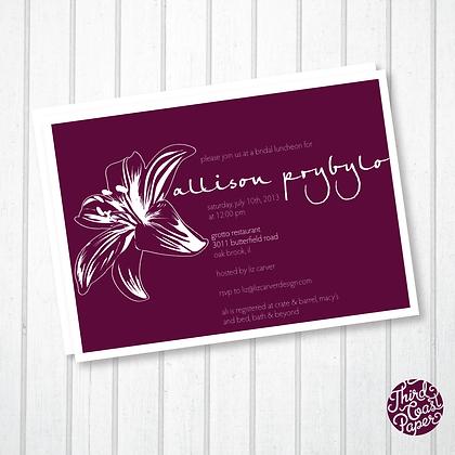 Purple Lily Bridal Shower Invitation