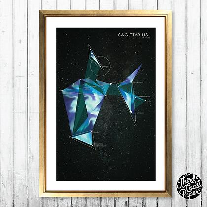 Sagittarius Constellation Map Print