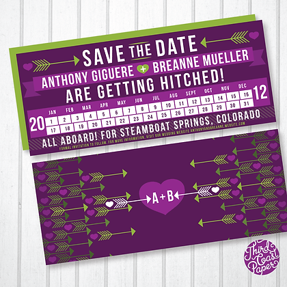 Train Ticket Punch Card Save the Date