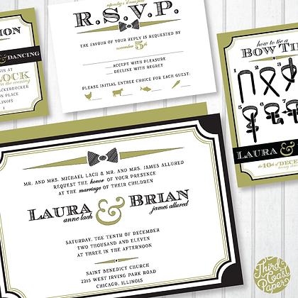 Modern Bow Tie Wedding Invitation