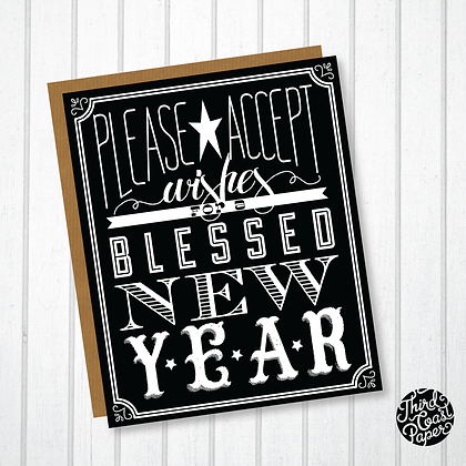 Wishes for a Blessed New Year's Typographic Card