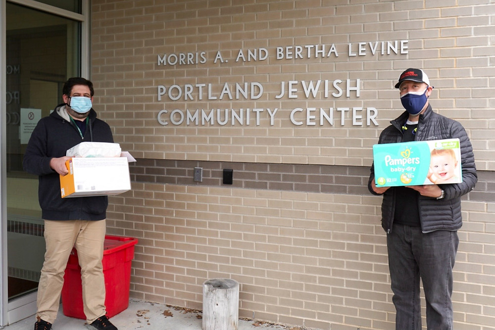 Diaper donation from Keller Williams Maine to Portland's Jewish Community Alliance of Southern Maine