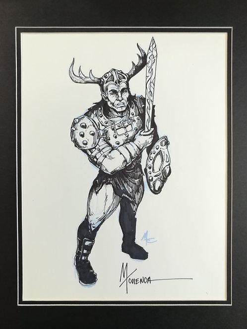 """Matted Original Inked RPG Illustration: """"Warrior"""""""