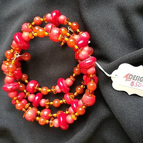 Red Coral & Carnelian Memory Bracelet