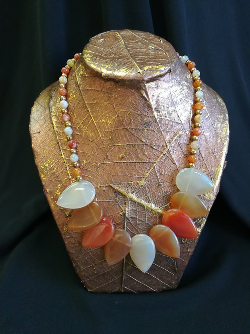 Ombre Agate Leaf Necklace, Bracelet and Earring Set