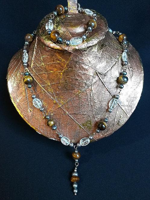 Rutile Crystal & Tigers Eye T-Style Necklace & Bracelet Set