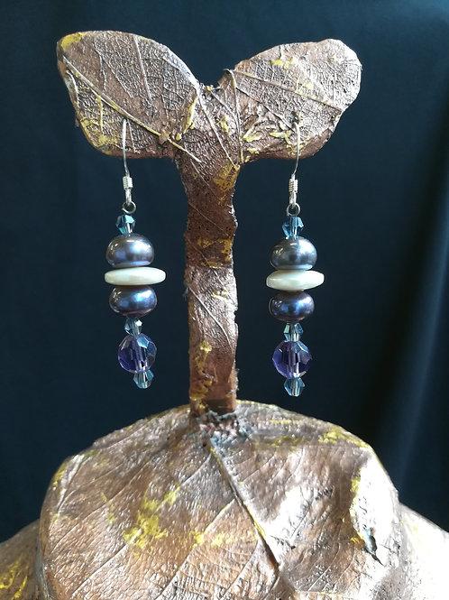 Purple Stacked Pearl Dangle Earrings