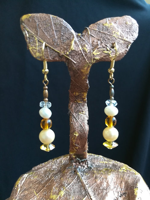 Freshwater Pearl & Crystal Dangle Earrings