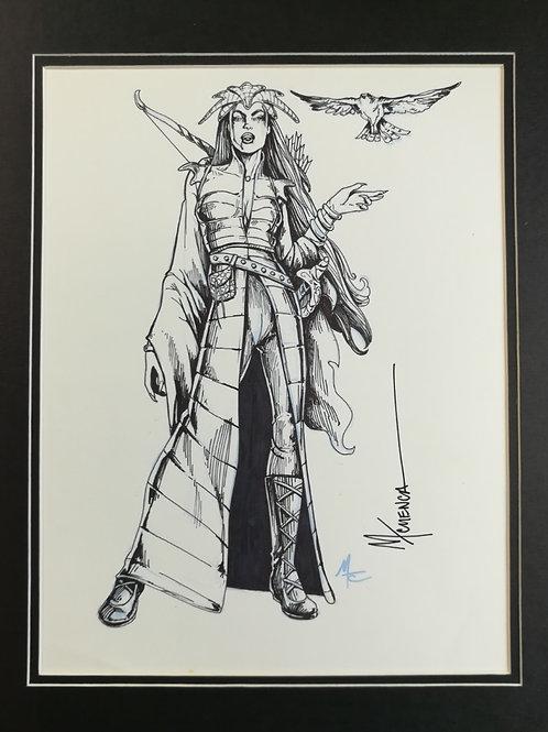 """copy of Matted Original Inked RPG Illustration: """"Sorceress"""""""