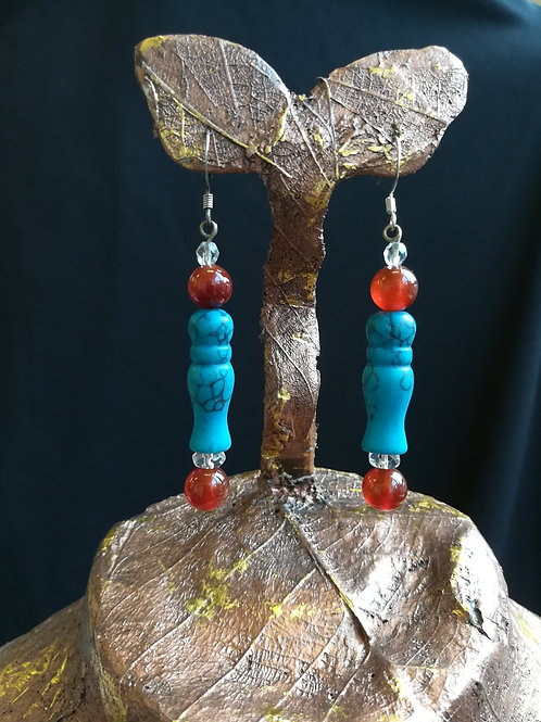Turned Turquoise & Agate Dangle Earrings