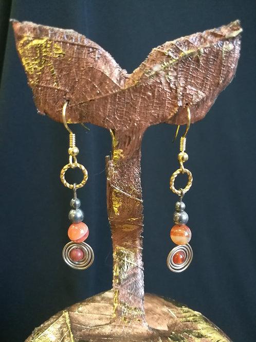 Carnelian and Red Agate Spiral Dangle Earrings
