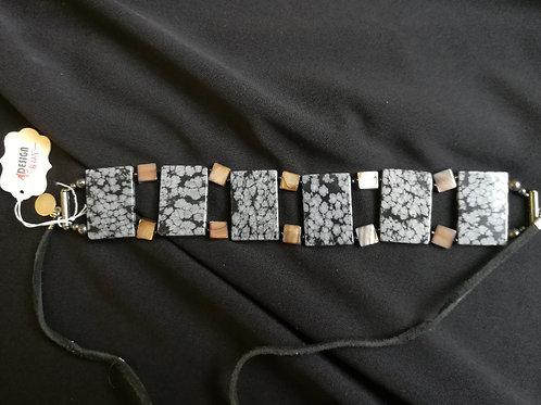 Snowflake Obsidian Tile Choker
