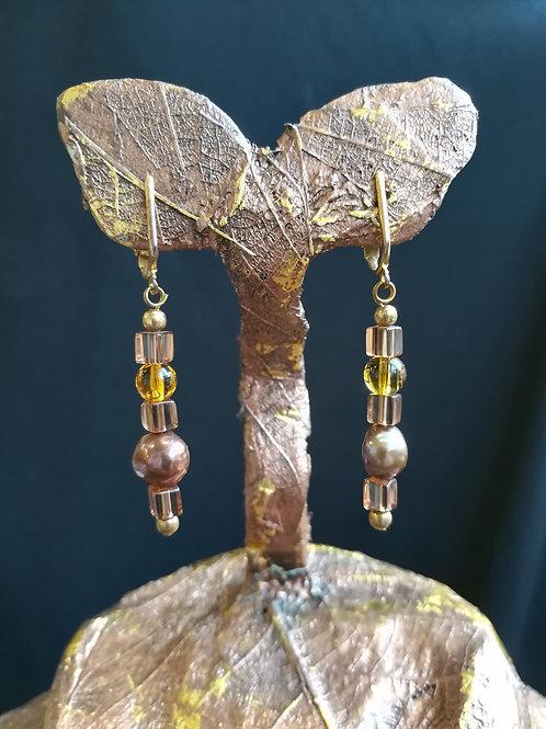 Gold Pearl Dangle Earrings